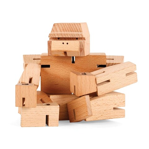 Kikkerland Square Beasts Ape Toy Figurine - Wooden Block Animal Puzzle Gorilla - 10.5 in.