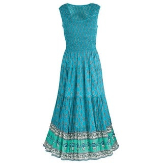 Catalog Classics Women's Tasha Teal Sun Dress - Sleeveless Border Print Gown