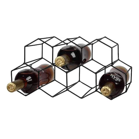 9 Bottle Metal Wine Rack Freestanding Tabletop Countertop Wine Bottle Holder