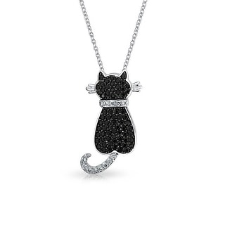 Black Cubic Zirconia CZ Kitty Kitten Sitting Cat Pendant Necklace For Women For Teen Plate Silver Tone Brass