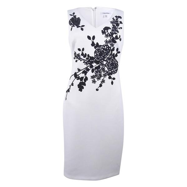 af50e8ef07 Shop Calvin Klein Women s Petite Beaded Detail Sheath Dress (10P ...