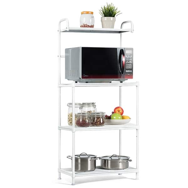 SPARSIFOLIA Shelf Unit Display Rack; 4-Tier Kitchen Island Storage Organizer Bakers Shelf Microwave Oven Stand with MDF Board /& 6PCS Wave Rod; Silver