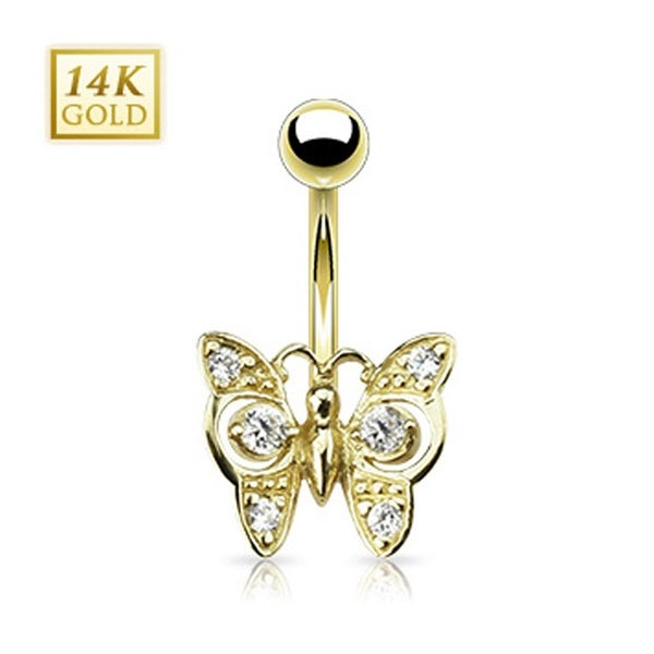 "14 Karat Solid Yellow Gold Clear CZ Butterfly Navel Belly Button Ring - 14GA 3/8"" Long"