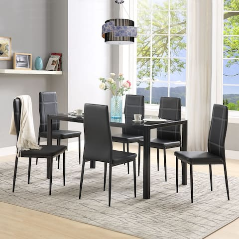 Moda 7-Piece Kitchen Dining Set Glass Table Top with 6 Leather Chairs