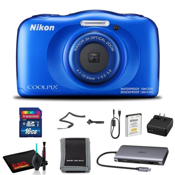 Nikon COOLPIX W100 Digital Camera (Blue) with 16GB SD Memory and Cleaning Kit. Opens flyout.