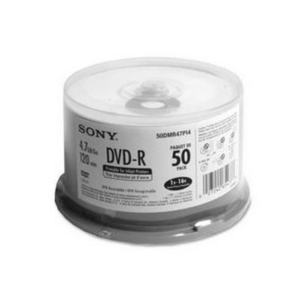 photo relating to Printable Dvd Rs identified as Sony DVD-R, 50DMR47PP, 4.7GB, 16x, Ink Jet Hub Printable, 50pk Greater part Spindle