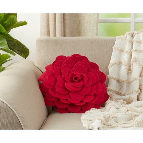Circular Multicolor Flower Decorative 13-inch Round Throw Pillow
