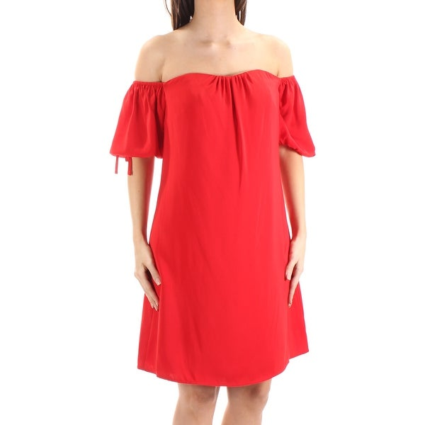 RACHEL ROY Womens Red Tie Short Sleeve Off Shoulder Above The Knee ALine Dress Size: 2