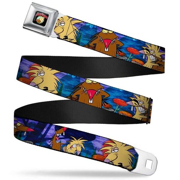 Angry Beavers Logo Full Color Black Daggett & Norbert Poses Blue Mountains Seatbelt Belt