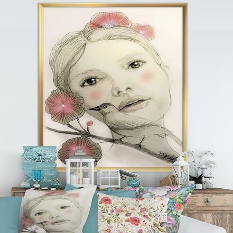 Designart 'Melodie In Blush' Cottage Premium Framed Art Print