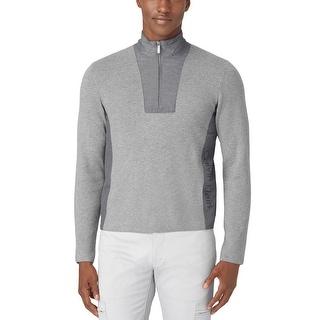 Calvin Klein CK Sweater Large L Med Gray Heather Half Zip Mockneck Pullover