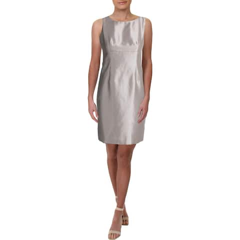 Le Suit Womens Petites Wear to Work Dress Shantung Sleeveless - Champagne - 6P