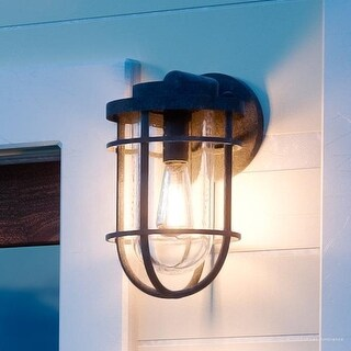 "Luxury Nautical Outdoor Wall Light, 9.75""H x 6""W, with Industrial Style, Cage Design, Black Sand Finish"