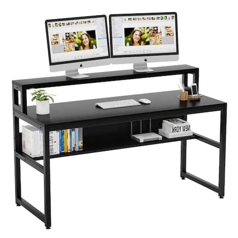 Tribesigns 55 Inches Computer Desk with Shelves