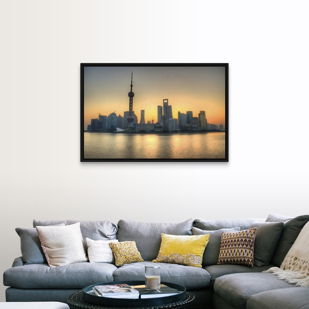 Skyline In Shanghai And Bund Which Is Across Huangpu River From Pudong Black Float Frame Canvas Art Overstock 25496170