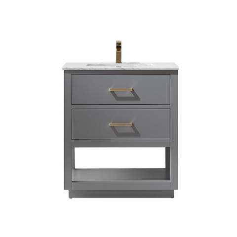 Altair Design Remi 30 in. Single Bathroom Vanity Set in Gray and Carrara White Marble Top