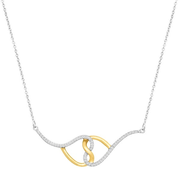 1/3 ct Diamond Double Heart Necklace in Sterling Silver & 14K Gold