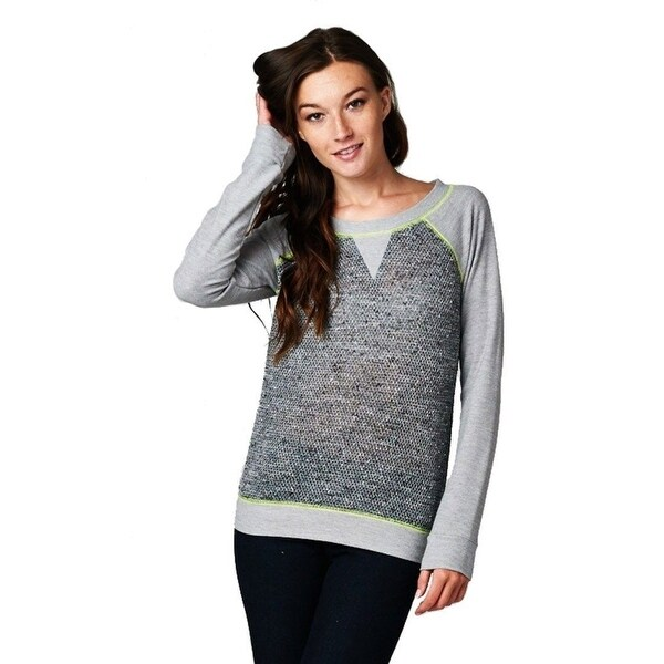 Shop French Terry Long Sleeve Neon Accent Shirt Top (Grey) - Free ... 40a0dcd2b40