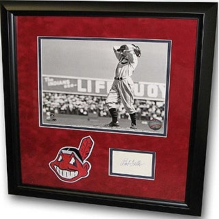 Bob Feller signed Index Card Cleveland Indians 8x10 BW Photo Custom Framed with Patch