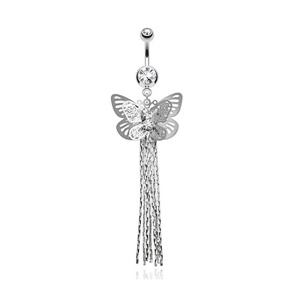 Layered Butterfly with Gems and Chains Dangle Navel Belly Button Ring 316L Surgical Steel