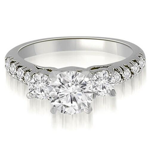 0.70 cttw. 14K White Gold Three-Stone Round Cut Diamond Engagement Ring