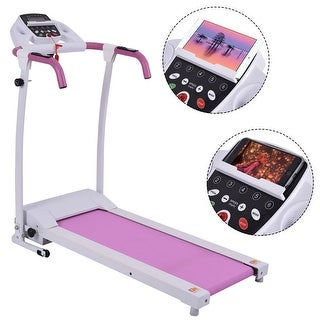 Costway 800W Folding Treadmill Electric /Support Motorized Power Running Fitness Machine - Pink