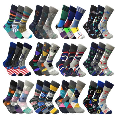 d115466570510 Mens Mixed Funny Colorful Novelty Crew Casual Patterned Socks 3 Pair Bundle