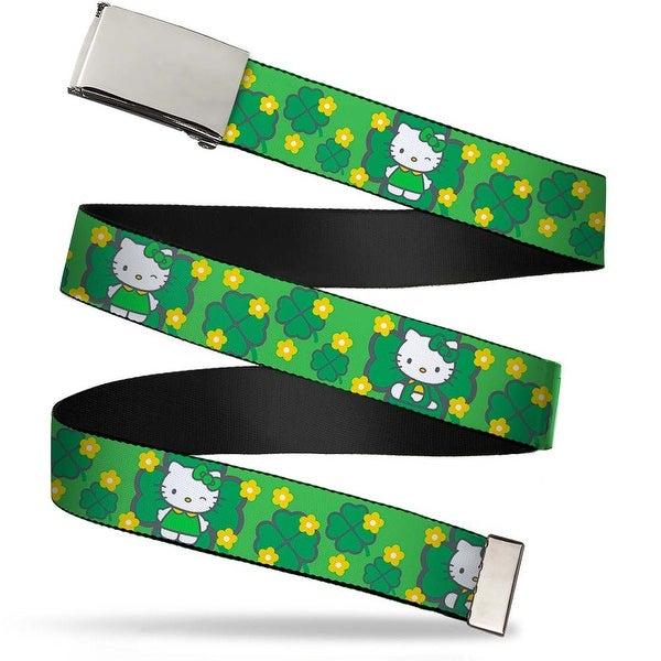 Blank Chrome Bo Buckle Hello Kitty St. Patrick's Day 1 Webbing Web Belt