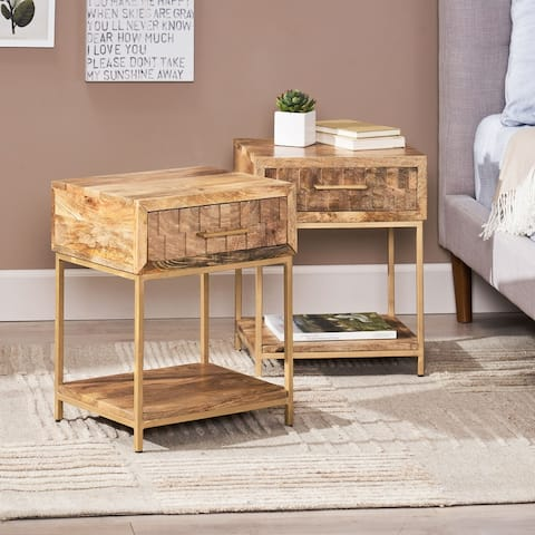 Watts Mango Wood Nightstand (Set of 2) by Christopher Knight Home