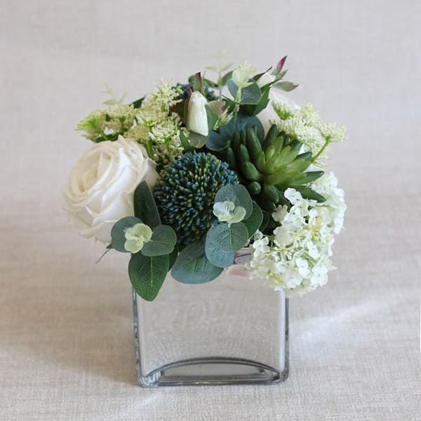 Floralgoods White Blue In Green Flower Arrangement In Glass Vase 9 Tall Overstock 29096718