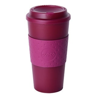 Copco Acadia Double Wall Insulated Travel Mug with Non-Slip Sleeve, 16-Ounce, Translucent Marsala Red