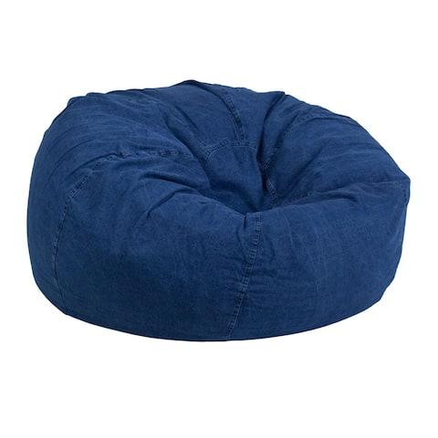 Offex Oversized Portable Cotton Upholstered Kids Bean Bag Chair - Denim