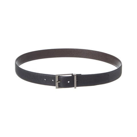 Burberry Reversible Leather Belt - Charcoal