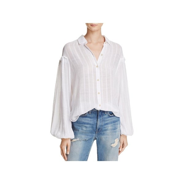 d0bb2f3bb76 Free People Womens Headed To The Highland Button-Down Top Semi-Sheer Collar