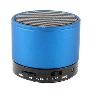 Unique Bargains Metal Wireless bluetooth 3.0 TF Slot FM MP3 Handfree Mic Mini Speaker Bass Blue