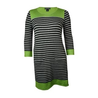 Jessica Howard Women's Pocket Striped Knit Sweater Dress - l