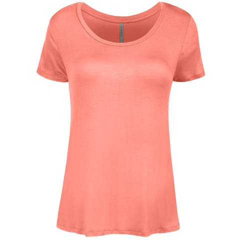 44eee14aa62a20 NE PEOPLE Womens Shorts Sleeve Scoop Neck Spandex T-shirts Top-NEWT309