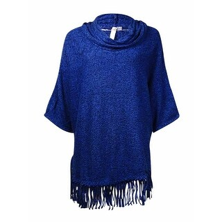 NY Collection Women's Marled Cowl Fringed Dolman Sweater