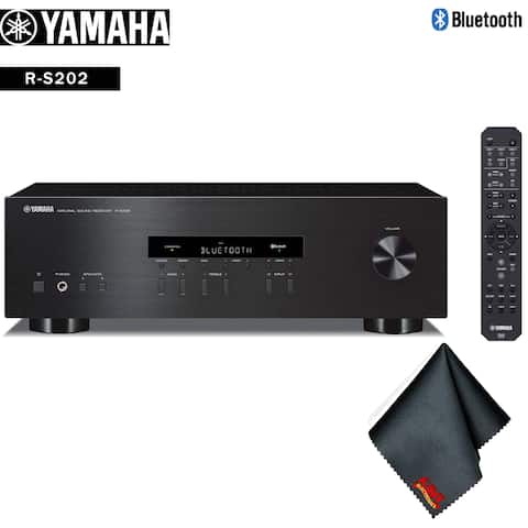 Yamaha R-S202 Stereo Receiver with Bluetooth (Black) Accessory Kit - Includes - Cleaning Cloth