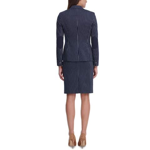 Tommy Hilfiger Womens Double-Breasted Blazer Striped Collar - Navy