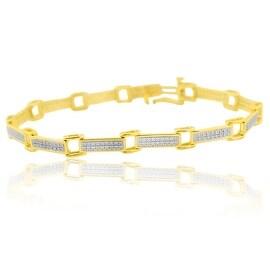 Ladies Diamond Bracelet in 10k Gold 0.70cttw Round Diamonds 6mm Wide Length 7.5 inches long Tennis Fancy Link Bracelet