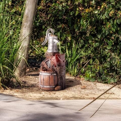 Alpine 24-Inch Outdoor 3-Tier Old-Fashioned Pump Barrel Fountain