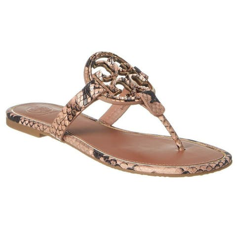 Tory Burch Womens Stamped Snake Printed Miller Sandals Pink Desert Roccia