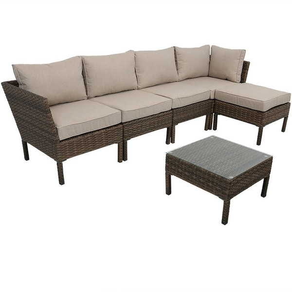 Sunnydaze Belgrano Wicker Rattan 6-Piece Sofa Sectional Patio Furniture Set