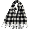 Winter Fall Cold Weather Irish Plaid Long Cashmere Feel Scarf, Black White - Thumbnail 0