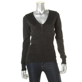 Energie Womens Juniors Metallic Zipper Detail Pullover Sweater