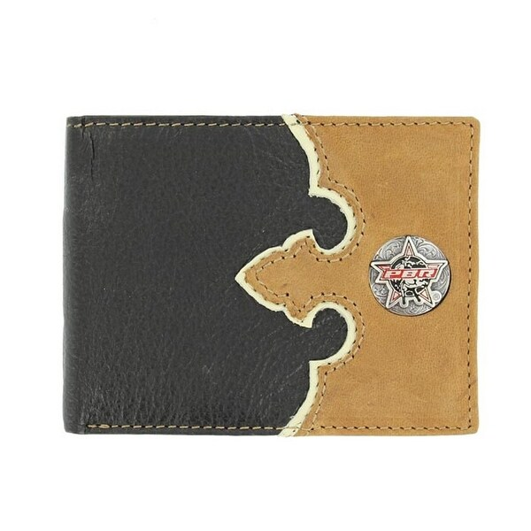 PBR Western Wallet Mens Rawhide Leather Bifold Black Tan - One size