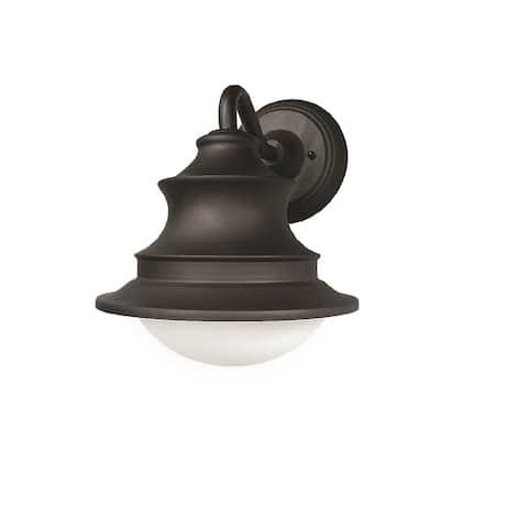 Butler 1-light Black LED Outdoor Sconce, White Glass Shade