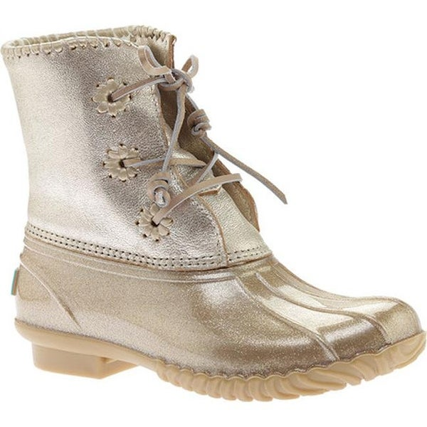 fb535adcac19 Jack Rogers Women's Chloe Duck Boot Platinum Glitter Leather/Rubber