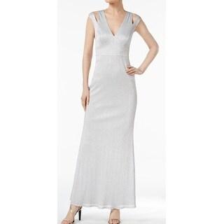 Calvin Klein Womens Shimmer Neck Cold-Shoulder Gown